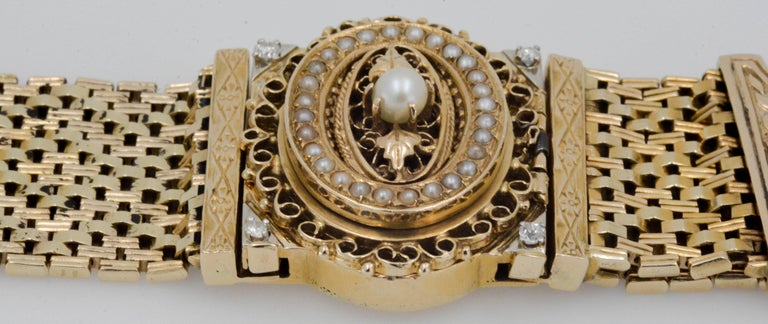 Victorian Yellow Gold diamond pearl Bracelet Watch / Pendant  In Excellent Condition For Sale In Dallas, TX