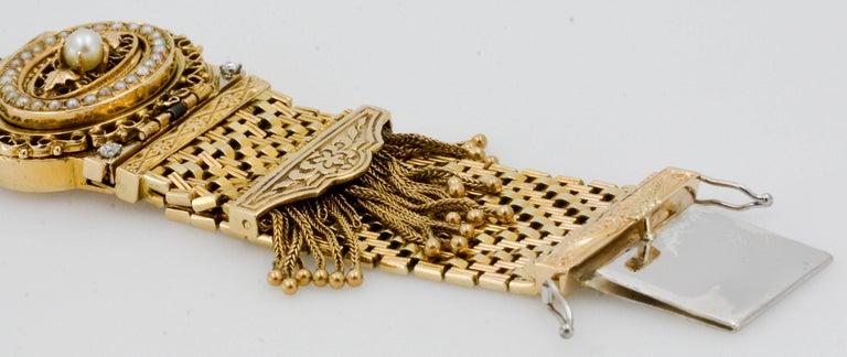 Women's Victorian Yellow Gold diamond pearl Bracelet Watch / Pendant  For Sale