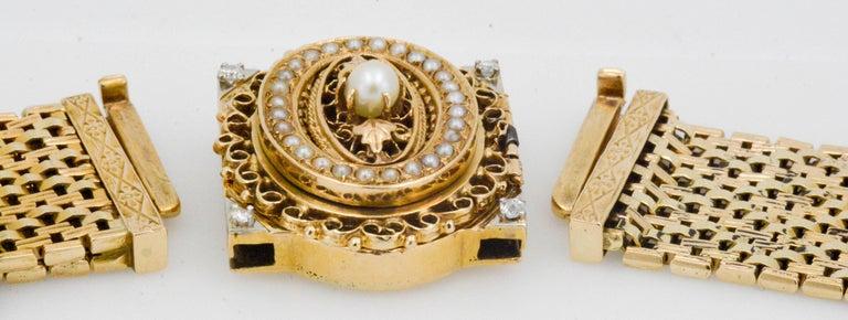 Victorian Yellow Gold diamond pearl Bracelet Watch / Pendant  For Sale 1