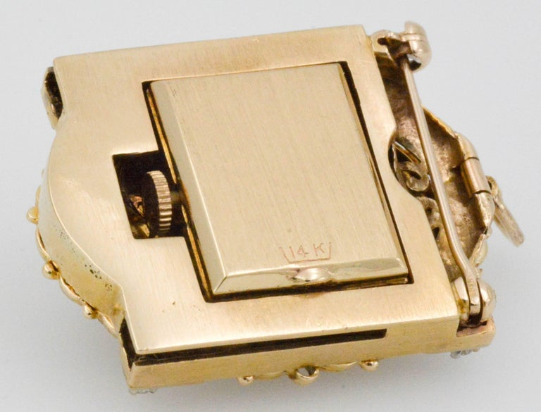 Victorian Yellow Gold diamond pearl Bracelet Watch / Pendant  For Sale 3