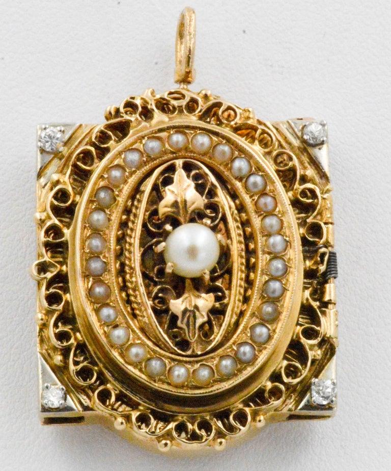 Victorian Yellow Gold diamond pearl Bracelet Watch / Pendant  For Sale 4