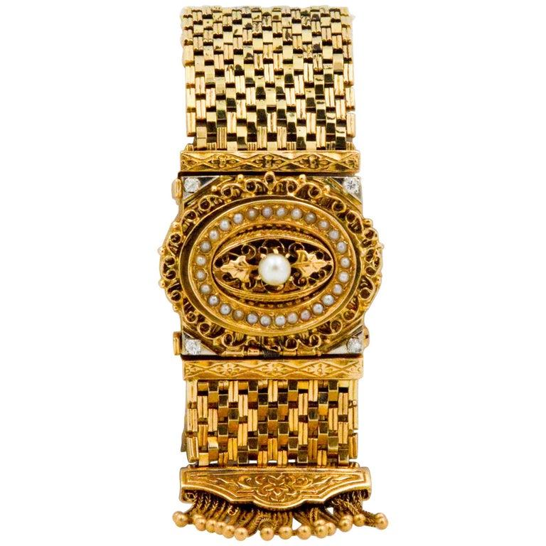 Victorian Yellow Gold diamond pearl Bracelet Watch / Pendant  For Sale