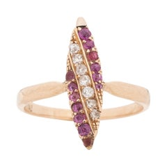 Victorian Yellow Gold, Diamond, Ruby Navette Style Cocktail Ring