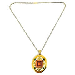 Victorian Yellow Gold Emerald Coral Enamel Locket Pendant Chain Necklace