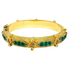 Victorian Yellow Gold Emerald Diamond Bangle Bracelet