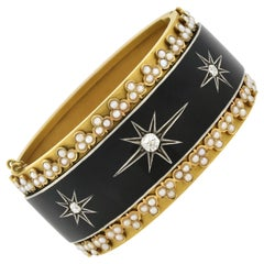 Victorian Yellow Gold Enameled Diamond and Pearl Starburst Motif Bangle Bracelet