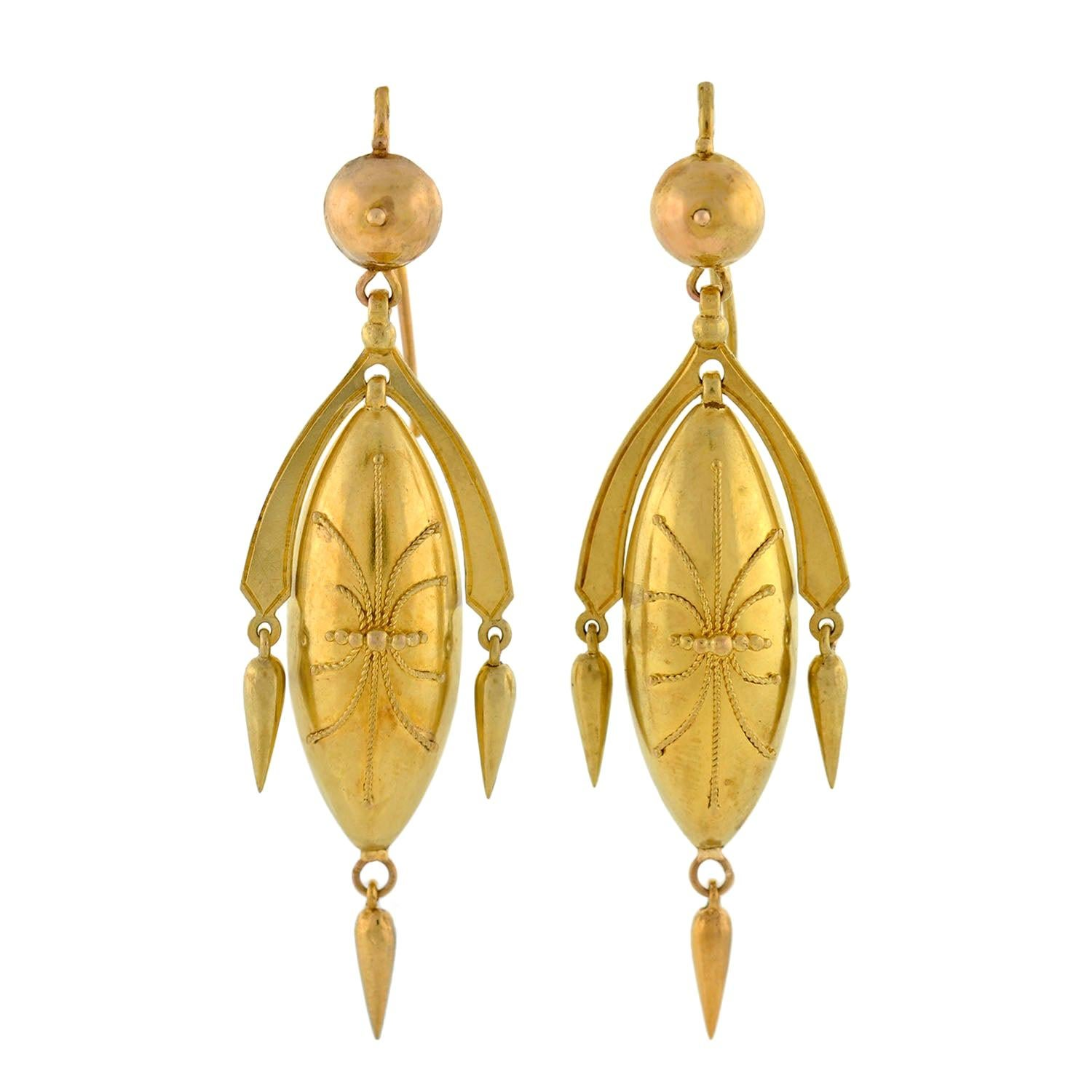 Victorian Yellow Gold Etruscan Drop Earrings