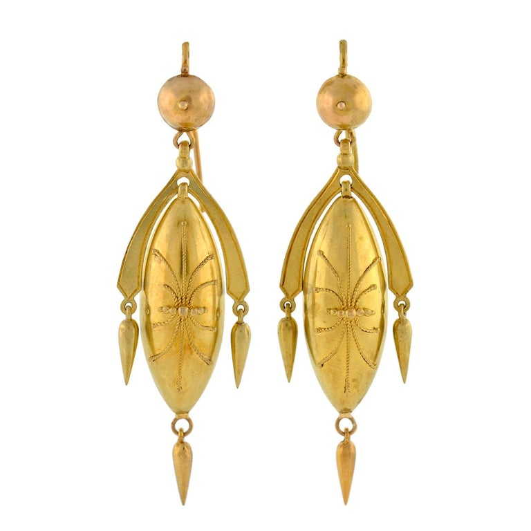 Victorian Yellow Gold Etruscan Drop Earrings For Sale
