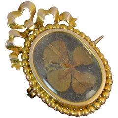 Victorian Yellow Gold Lucky Clover Centrepiece Locket Brooch