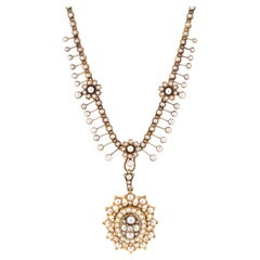 Victorian Yellow Gold Pearl Diamond Necklace