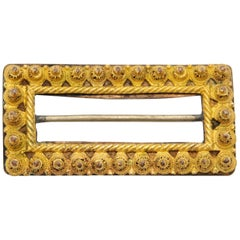 Antique Gold Rectangular Filigree Belt Buckle