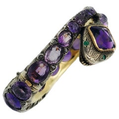 Victorian Yellow Gold Silver Amethyst Snake Bangle Bracelet