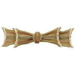 Victorian Yellow Rose and White Gold Bow Brooch