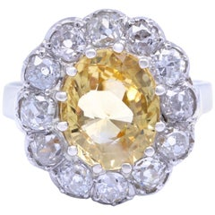 Victorian Yellow Sapphire Diamond Gold Ring