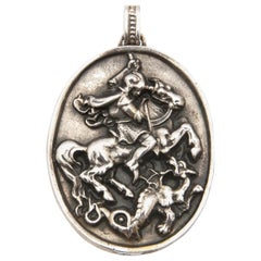 Sterling Silver St. George and the Dragon Relief Pendant