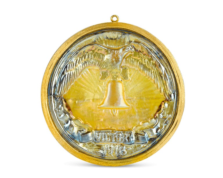 Victory Favrile Glass Medallion by Louis Comfort Tiffany & Co. In Excellent Condition For Sale In New Orleans, LA