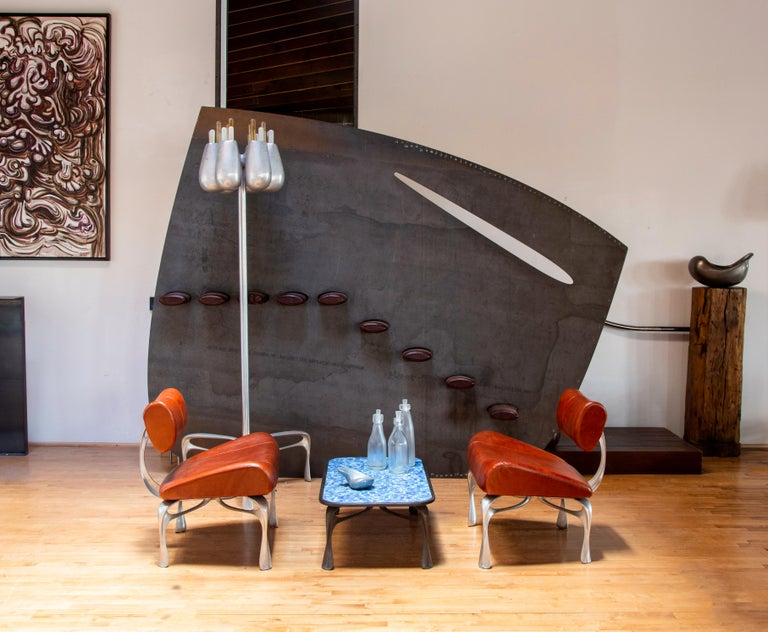 Modern Victory Lounge Chair, Leather and Burnished Cast Aluminum, Jordan Mozer USA 2012 For Sale