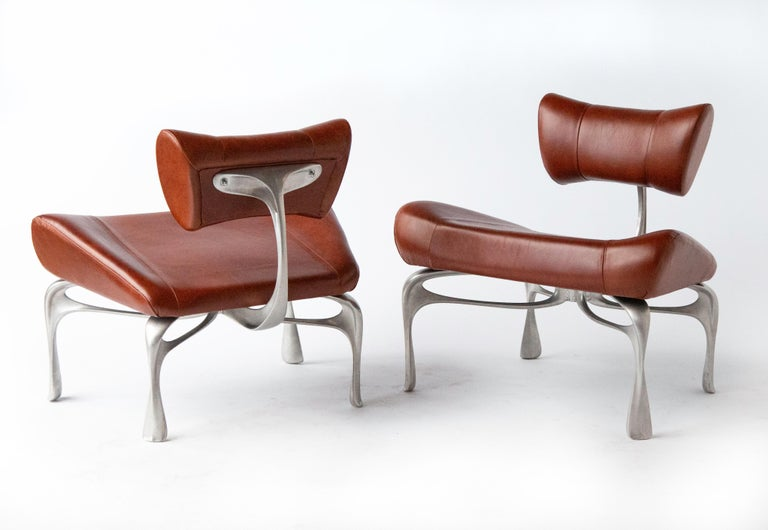 American Victory Lounge Chair, Leather and Burnished Cast Aluminum, Jordan Mozer USA 2012 For Sale