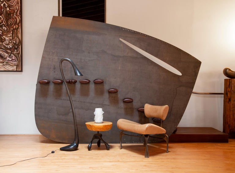 Modern Victory Lounge Chair, Leather & Patinated Cast Aluminum, Jordan Mozer, USA, 2012 For Sale