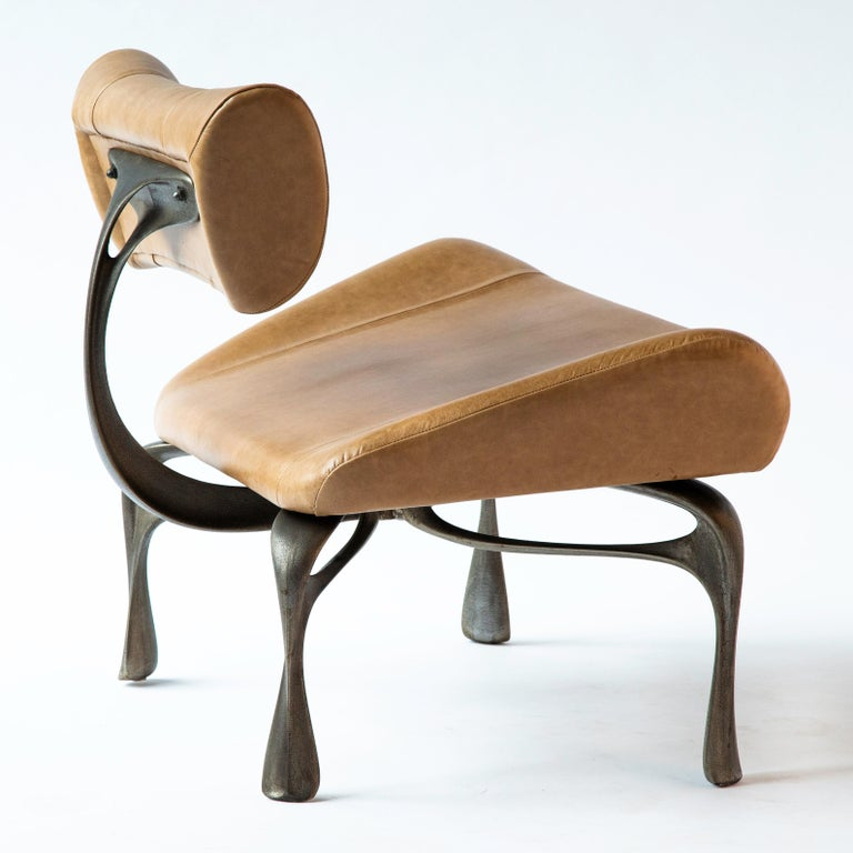 American Victory Lounge Chair, Leather & Patinated Cast Aluminum, Jordan Mozer, USA, 2012 For Sale
