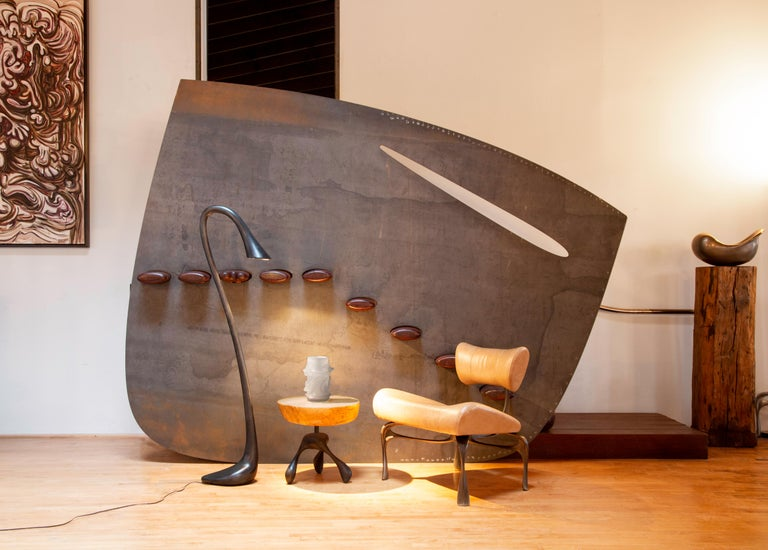 Victory Lounge Chair, Leather & Patinated Cast Aluminum, Jordan Mozer, USA, 2012 In New Condition For Sale In Chicago, IL