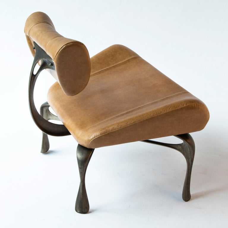 Contemporary Victory Lounge Chair, Leather & Patinated Cast Aluminum, Jordan Mozer, USA, 2012 For Sale