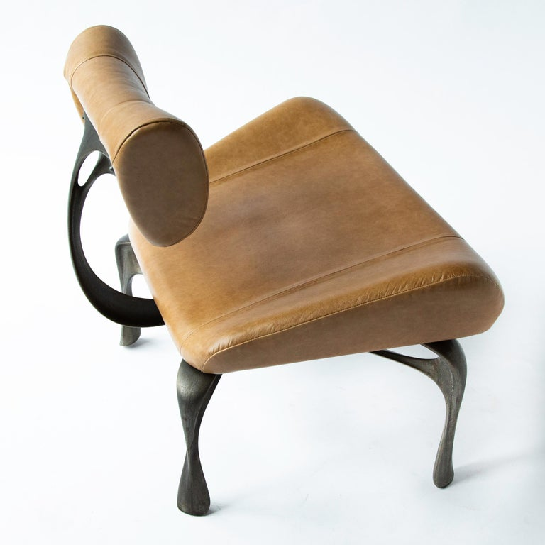 Victory Lounge Chair, Leather & Patinated Cast Aluminum, Jordan Mozer, USA, 2012 For Sale 2
