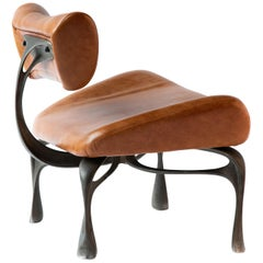 Victory Lounge Chair, Cast Aluminum with Patina, Leather, Jordan Mozer USA 2012