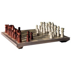 Victory Solid Oak Chessboard with Chess in Maple and Mahogany Wood