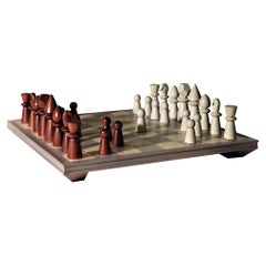Victory Solid Wood Chessboard with Chess in Maple and Mahogany Wood