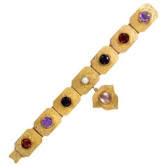Victotorian Multi-Gemstone Gold Plaque Bracelet with Charm, in Original Box