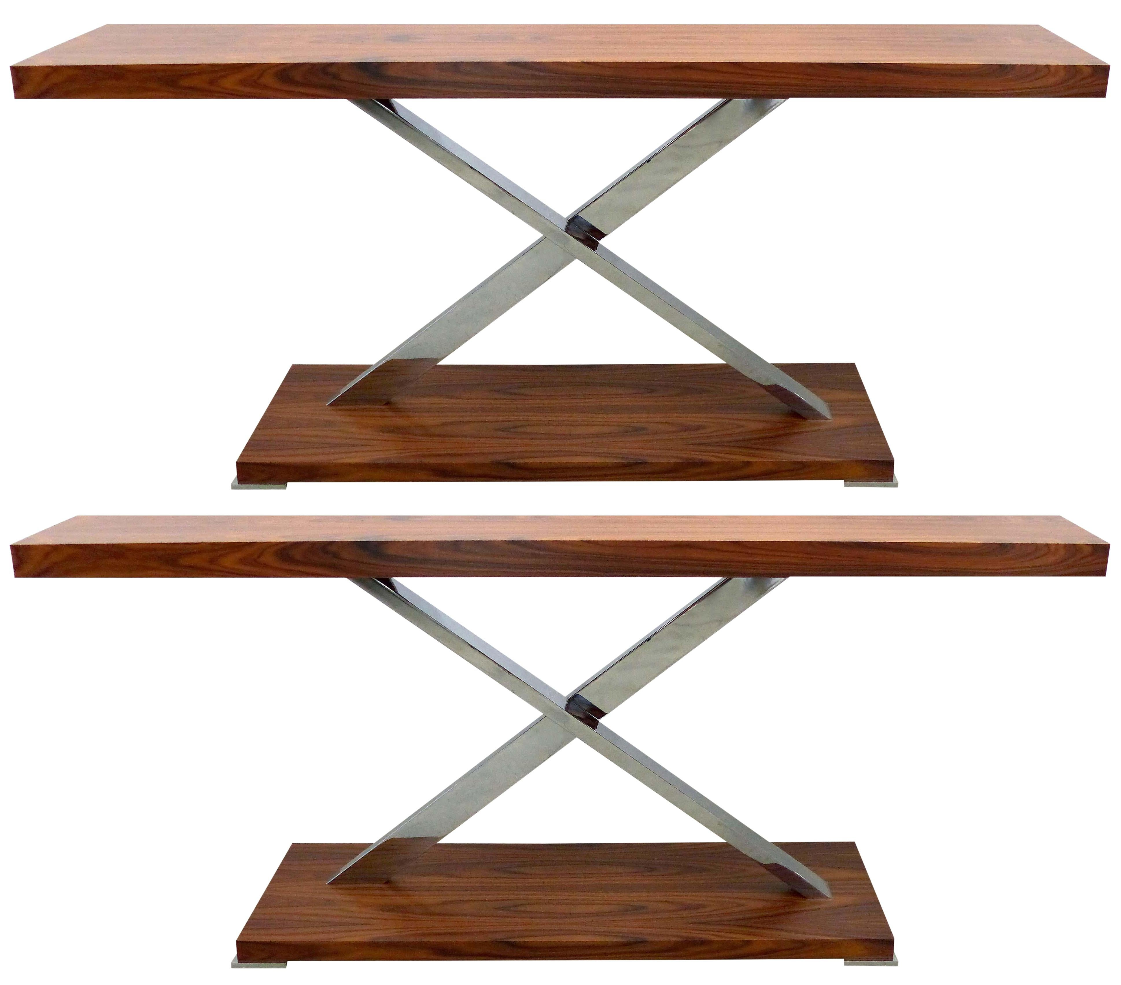 """Mobilidea, Italy """"Victura"""" Console Table in Palisander and Chrome"""