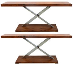 "Mobilidea, Italy ""Victura"" Console Table in Palisander and Chrome"