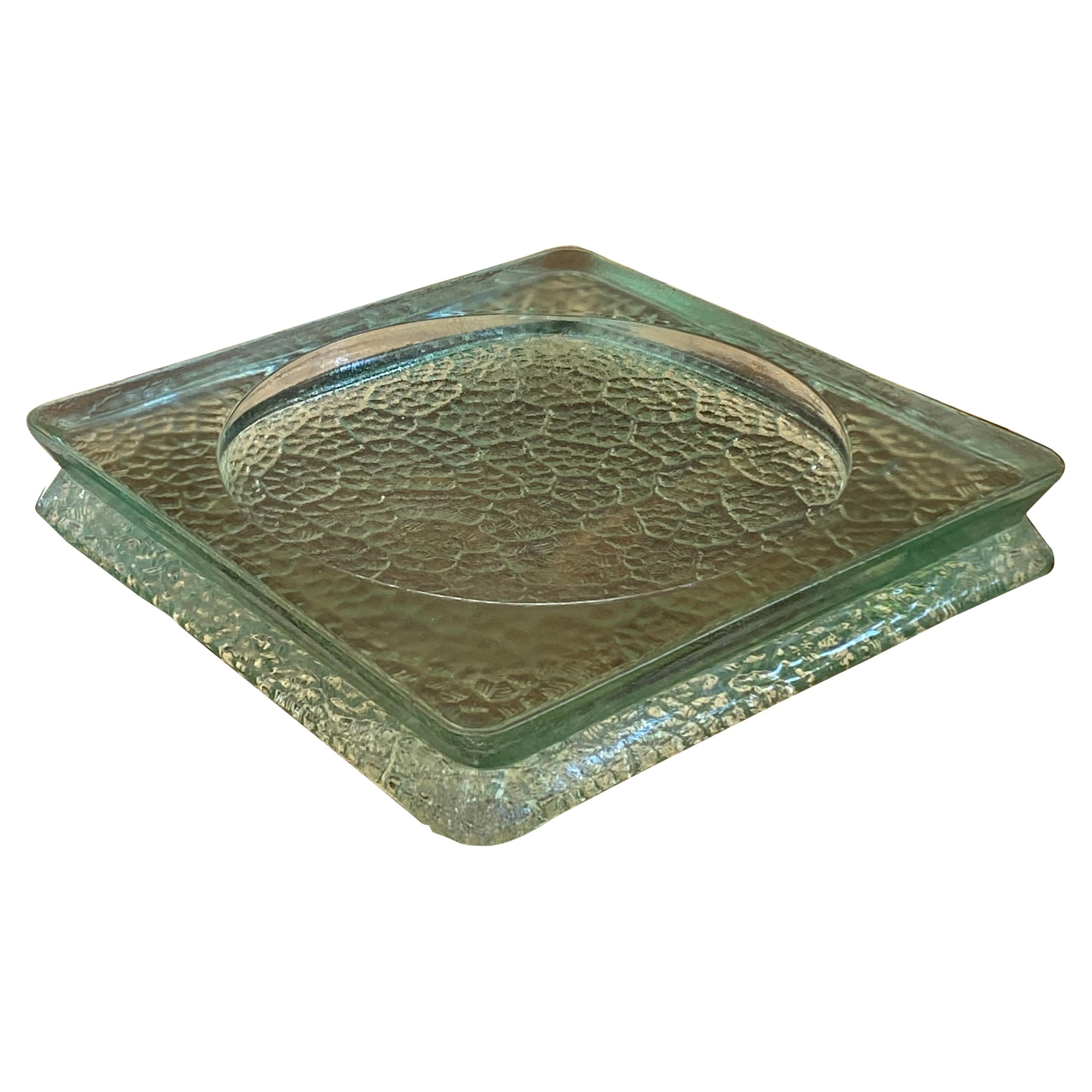 Vide Poche or Ashtray in Bubled Glass, France 1950, Saint Gobain Style