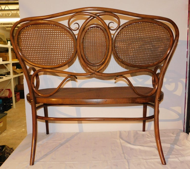 Vienese Secessionist Gebruder Thonet Art Nouveau Bentwood Bench Settee For Sale 2