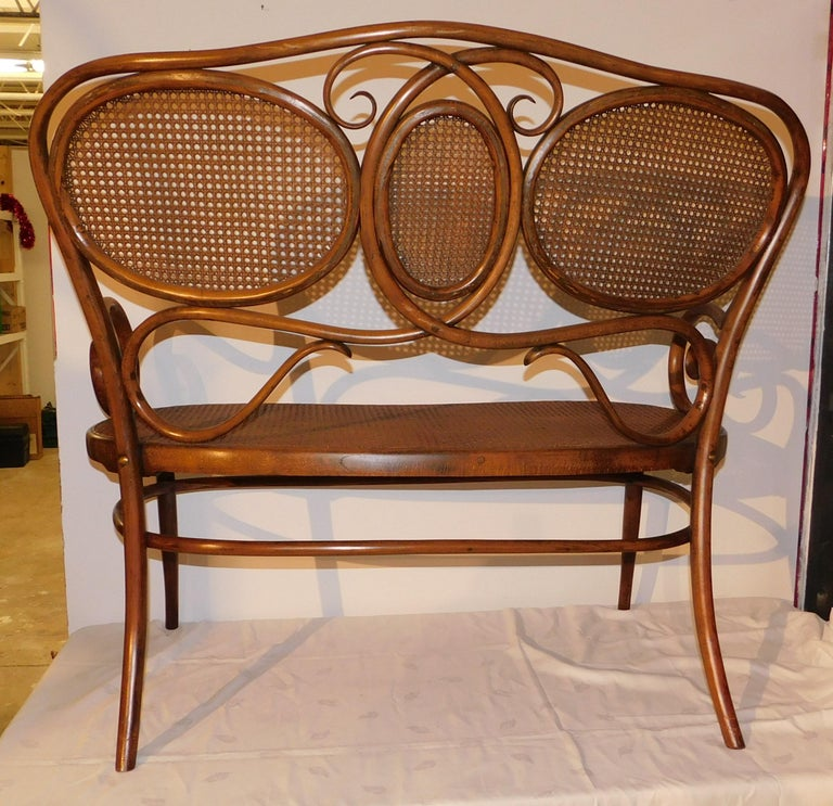 Vienese Secessionist Gebruder Thonet Art Nouveau Bentwood Bench Settee For Sale 3