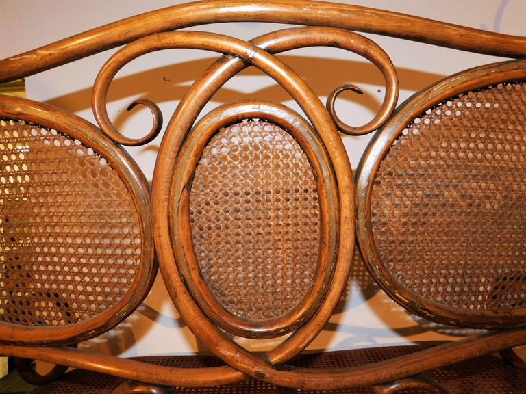Vienese Secessionist Gebruder Thonet Art Nouveau Bentwood Bench Settee For Sale 4