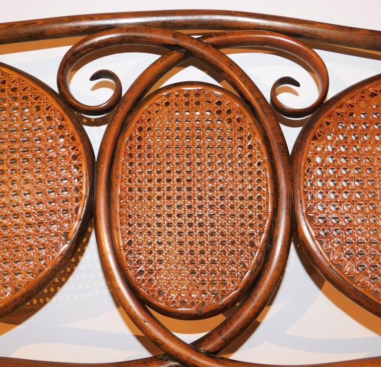 Vienese Secessionist Gebruder Thonet Art Nouveau Bentwood Bench Settee For Sale 5