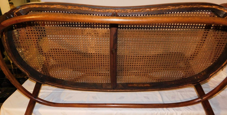 Vienese Secessionist Gebruder Thonet Art Nouveau Bentwood Bench Settee For Sale 6