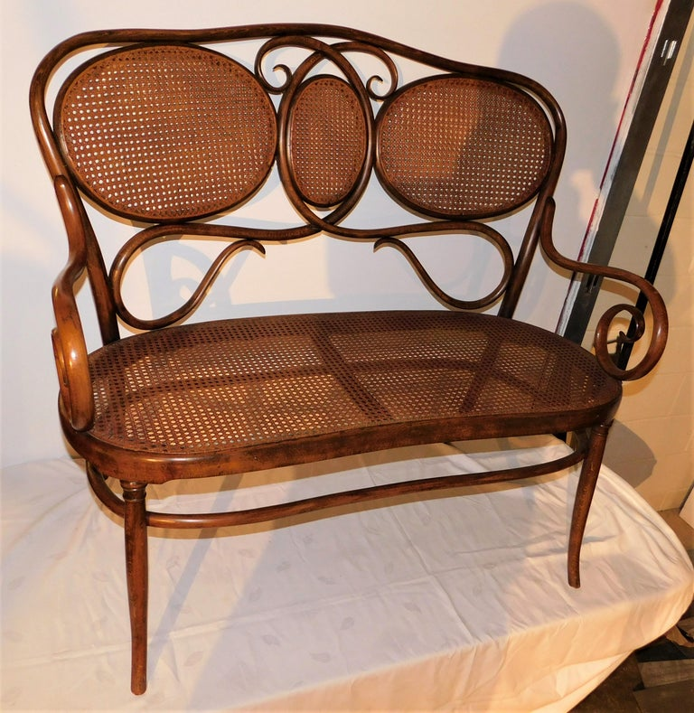 A Gebruder Thonet bentwood bench or settee. A kidney shaped caned seat and back with a bentwood wooden frame. Late 19th century design, originally from Austria, shipping label on bottom shows it was sent to Broadway New York. Beautiful