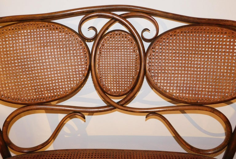 Vienna Secession Vienese Secessionist Gebruder Thonet Art Nouveau Bentwood Bench Settee For Sale