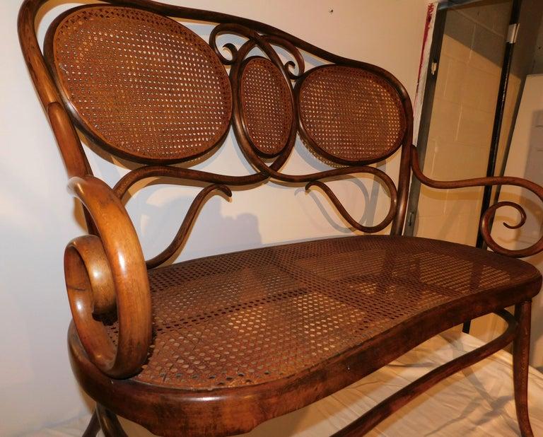 Austrian Vienese Secessionist Gebruder Thonet Art Nouveau Bentwood Bench Settee For Sale