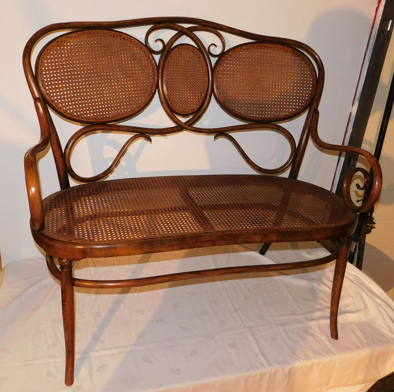 Caning Vienese Secessionist Gebruder Thonet Art Nouveau Bentwood Bench Settee For Sale
