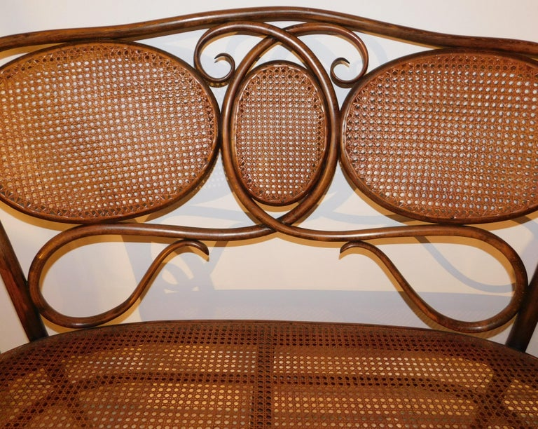 Cane Vienese Secessionist Gebruder Thonet Art Nouveau Bentwood Bench Settee For Sale