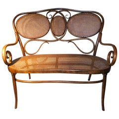 Vienese Secessionist Gebruder Thonet Art Nouveau Bentwood Bench Settee