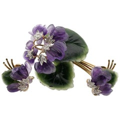 Vienna 1922 Carved Amethyst Nephrite Diamond Bunch Violet Brooch Earrings Suite
