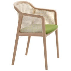 Vienna Armchair by Colé, Modern Design in Wood and Straw, Green Upholstered Seat