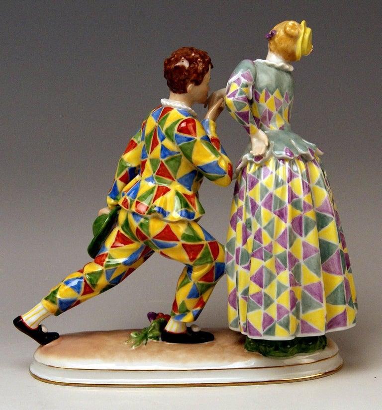 Vienna Augarten nicest figurine group: Actors Helene and Hermann Thimig as Smeraldina und Truffaldino  Designer: Professor Albin Doebrich (1872-1945) / Model 1605 designed circa 1930.  Hermann Thimig (1890–1982) was an Austrian film actor. He