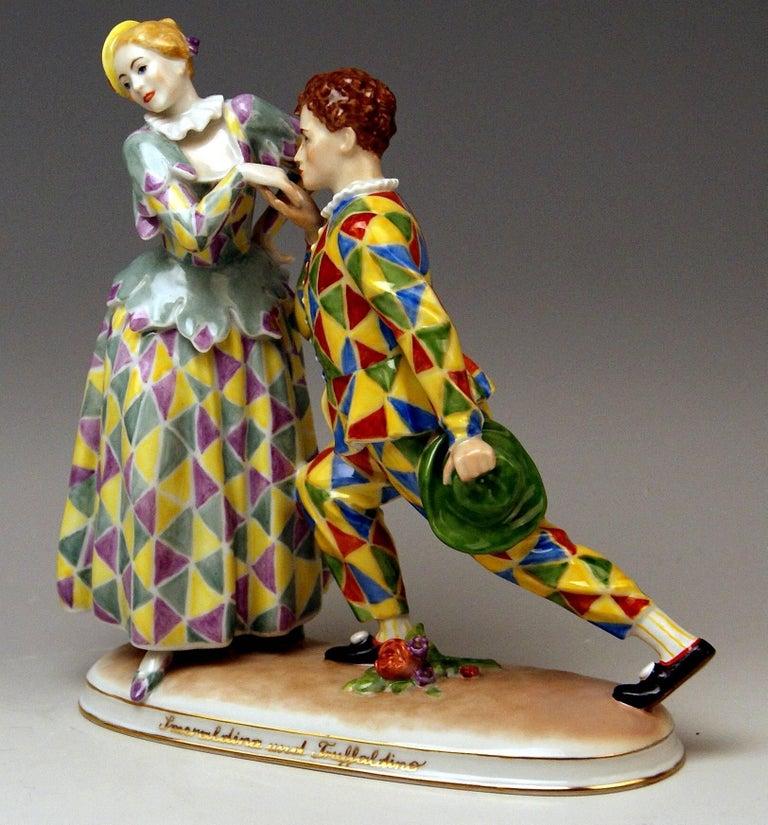 Other Vienna Augarten Figurines Smeraldina and Truffaldino Model 1605 Doebrich, 1960 For Sale