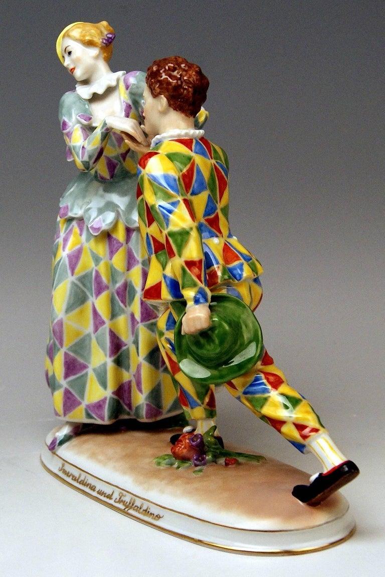 Painted Vienna Augarten Figurines Smeraldina and Truffaldino Model 1605 Doebrich, 1960 For Sale